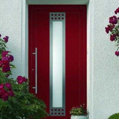 Haustür rot mit Milchglas